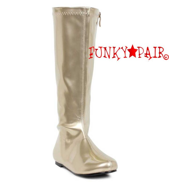 "Gold 106-Avenge 1"" Flat Knee High Go-Go Boots"