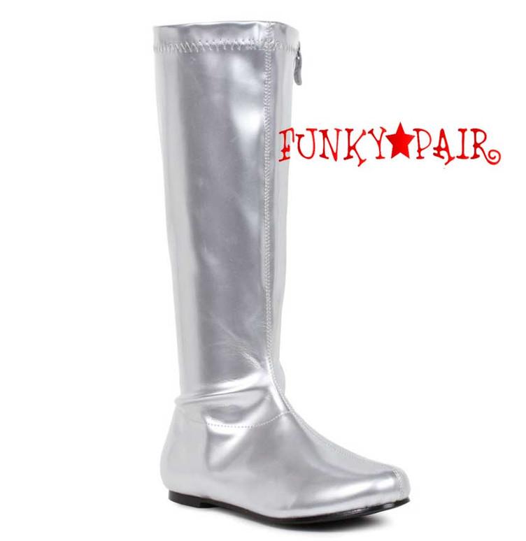 "Silver Glitter  106-Avenge 1"" Flat Knee High Go-Go Boots"