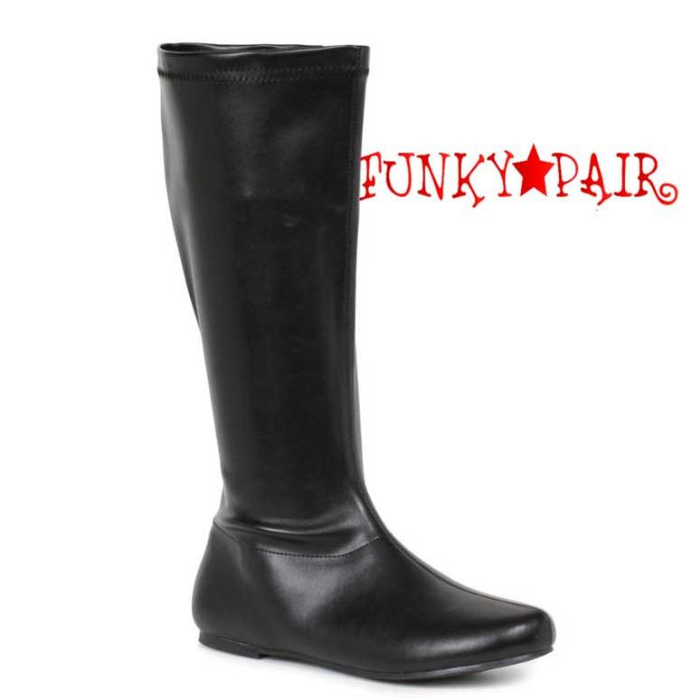 "Black 106-Avenge 1"" Flat Knee High Go-Go Boots"
