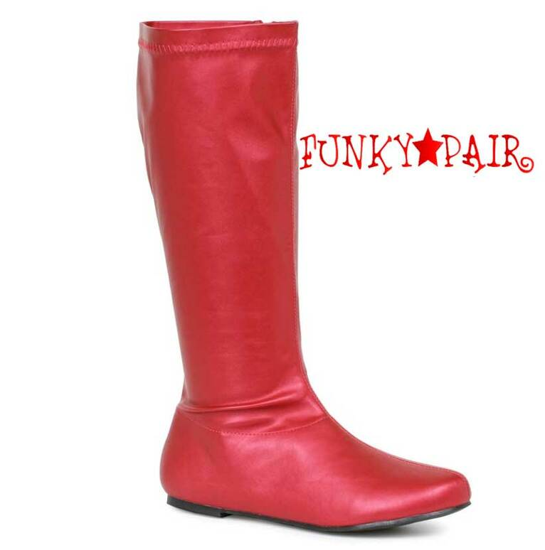 "Red 106-Avenge 1"" Flat Knee High Go-Go Boots"