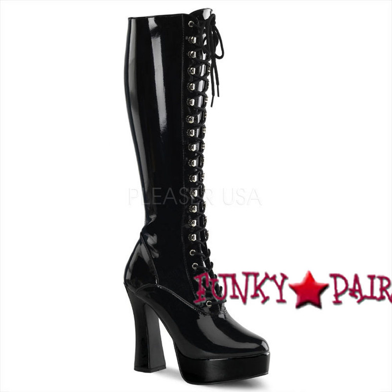 ELECTRA-2023 Women's Knee High Pleaser Boots color black patent