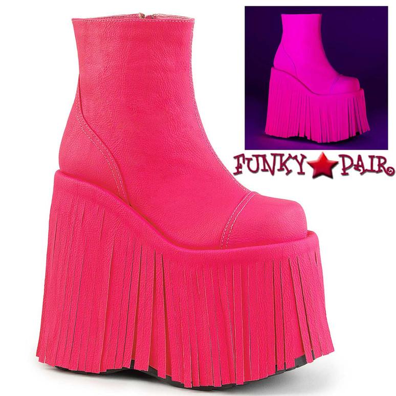 Slay-205, Rave UV Hot Pink Fringe Platform Ankle Boots by Demonia