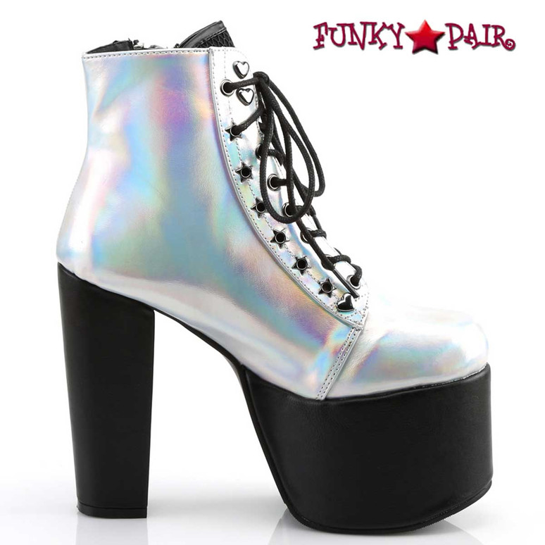 Torment-712, Silver Hologram Chunky Heel Platform Ankle Boots by Demonia inner side view