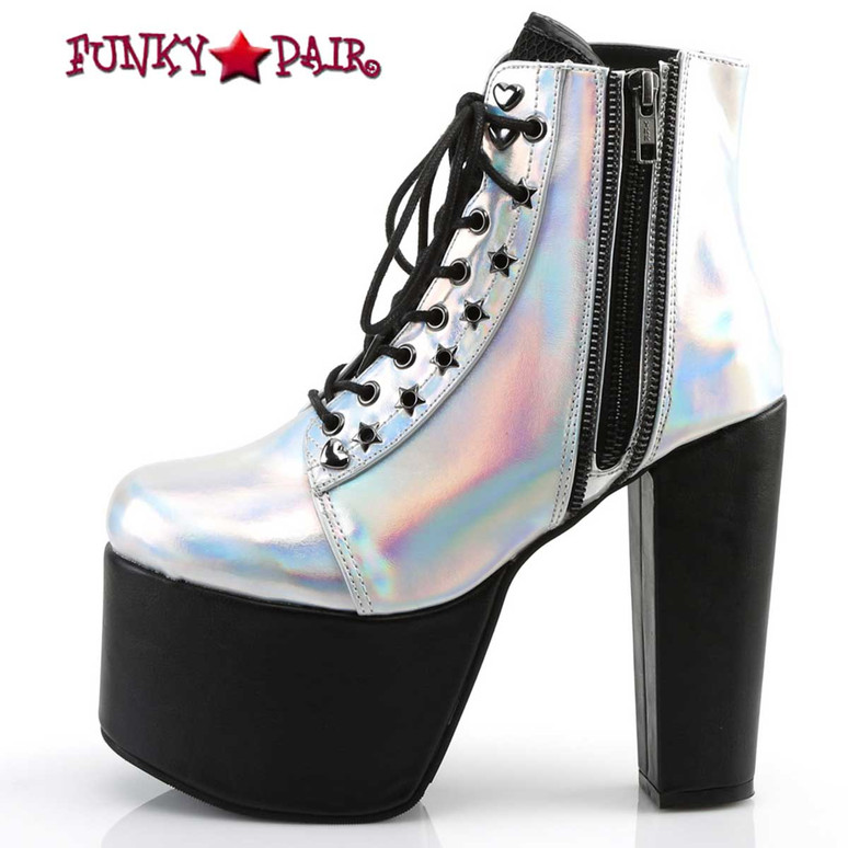 Demonia Torment-712, Silver Hologram Chunky Heel Platform Ankle Boots