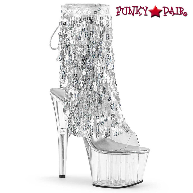 Adore-1017SQF, Silver Sequin Fringe Ankle Boots by Pleaser USA