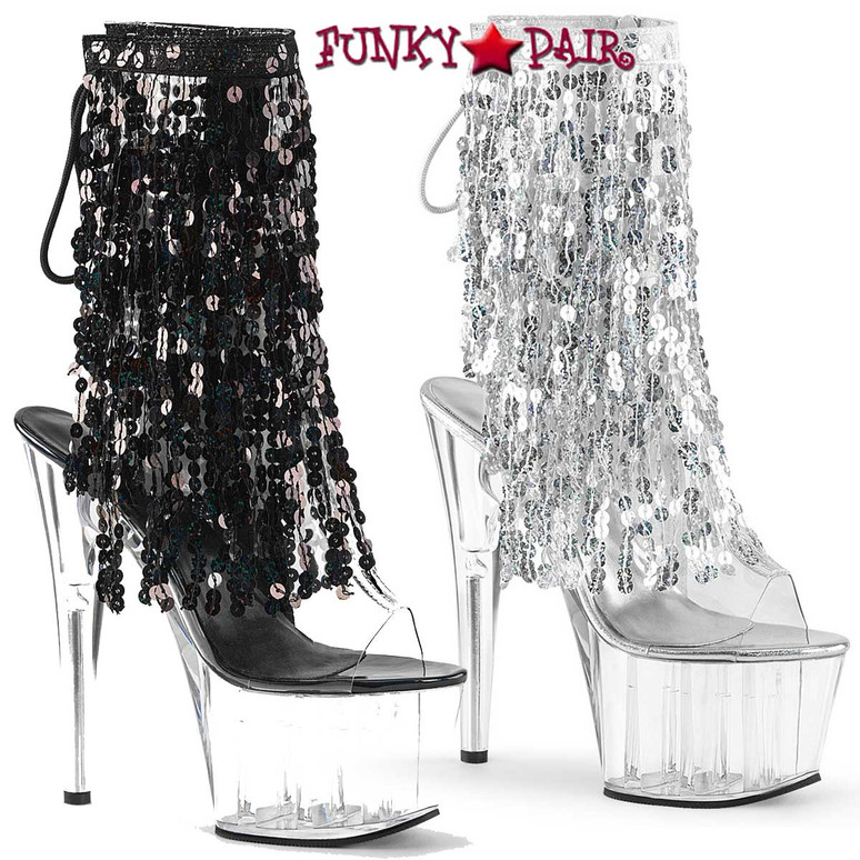 Pleaser USA | Adore-1017SQF, Sequin Fringe Ankle Boots