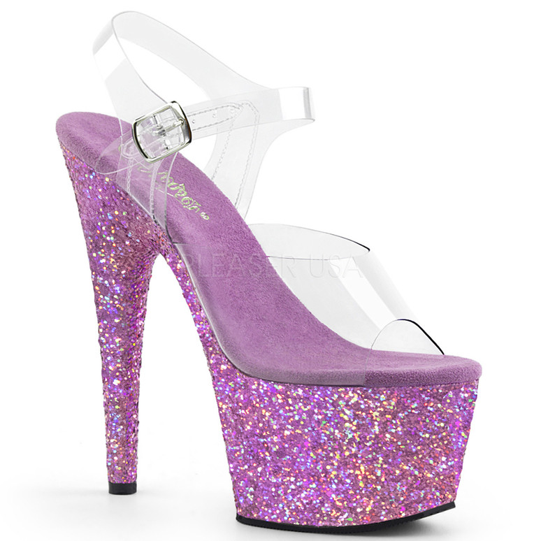 Glitter POLE Dancing Heels | Pleaser USA Adore-708LG, 7 Inch Heel Ankle Strap with Lavender Multi Glitter