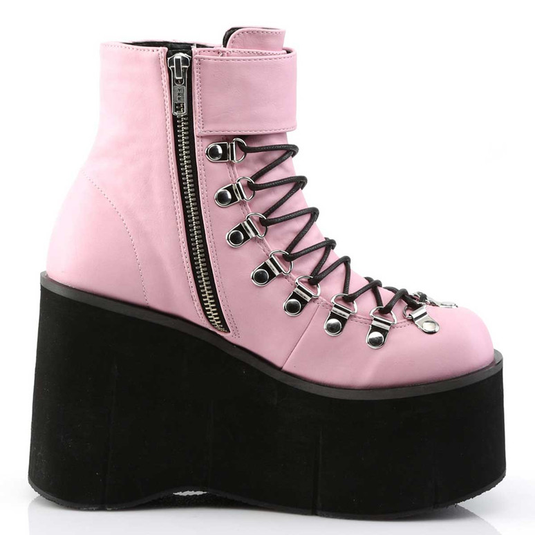 Kera-21, Baby Pink Vegan Leather Ankle Cuff Demonia Boots Zipper Side View