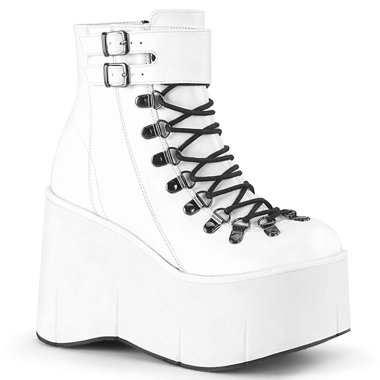 Kera-21, White Vegan Leather Ankle Cuff Demonia Boots