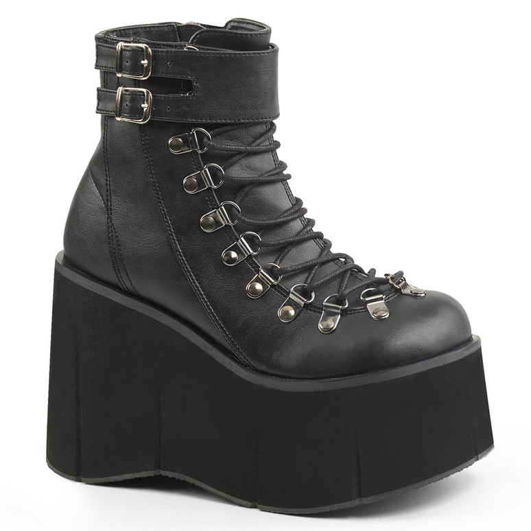 Demonia | Kera-21, Black Vegan Leather Ankle Cuff Boots