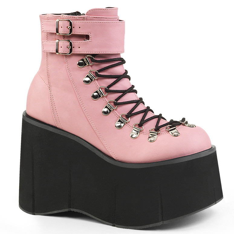 Kera-21, Baby Pink Vegan Leather Ankle Cuff Demonia Boots