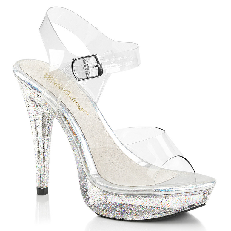 Cocktail-508MG, 5 Inch Heel Sandal with Glitters on Platform