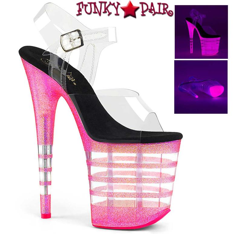 Pleaser | Flamingo-808UVLN, UV Reactive Line Platform Ankle Strap Sandal Color Clr/Neon Bubble Gum Pink Glitter