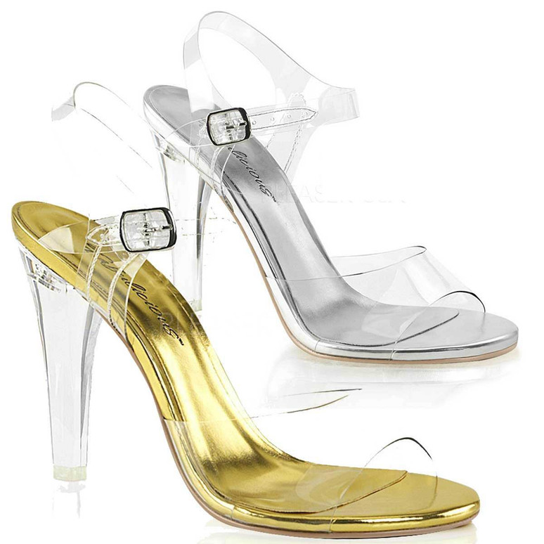 """4.5"""" Heel Clear Evening Sandal Fabulicious 