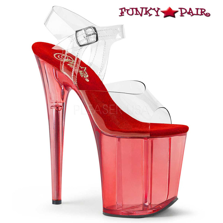 Red Tint Platform Ankle Strap Sandal Pleaser Shoes Flamingo-808T