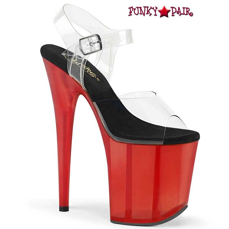 Flamingo-808T, Stripper Shoes 8 Inch Tint Platform Ankle Strap Sandal Black/Red by Pleaser