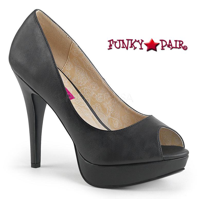 Pink Label   Chloe-01, Peep Toe Platform Pump Size 9-16 color black faux leather