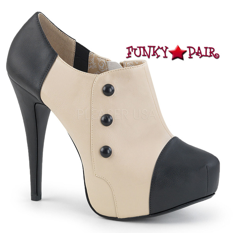 Pleaser | Chloe-11 Womens Ankle Boots Large Size 9-16 color cream/black