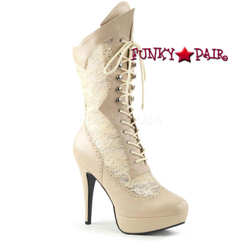 Pink Label | Chloe-115, Wide Width Mid Calf Lace Boots Size 9-16 Cream Faux Leather