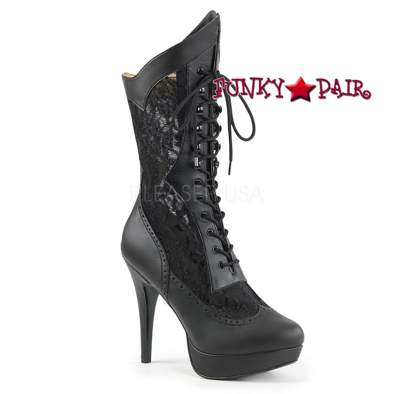 Black Chloe-115, Wide Width Mid Calf Lace Boots | Pleaser Pink Label