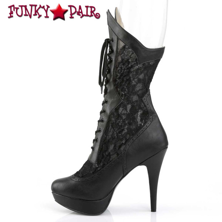 Inner Side View Chloe-115, Wide Width Mid Calf Lace Boots | Pleaser Pink Label