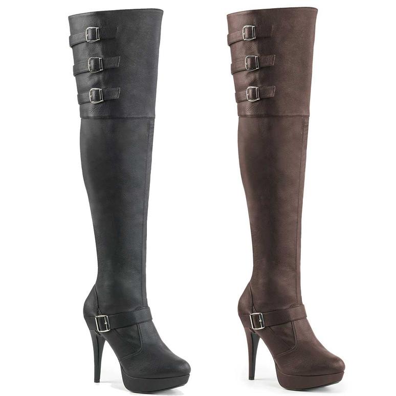 """CrossDresser Chloe-308, 525"""" Heel Wide Shaft Thigh High Boots"""
