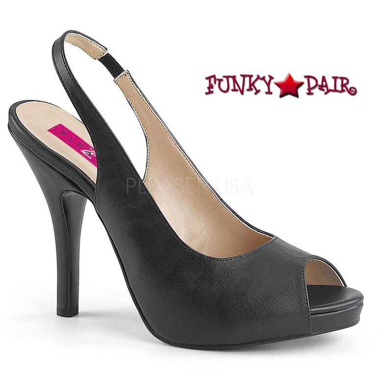 Pink Label   Eve-04 Women Peep Toe Sandal Plus Size 9-16 color black faux leather