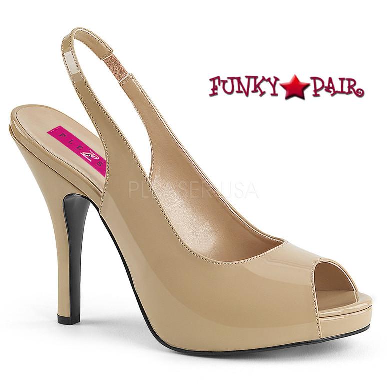 Pink Label | Eve-04 Women Peep Toe Sandal Plus Size 9-16 color cream patent