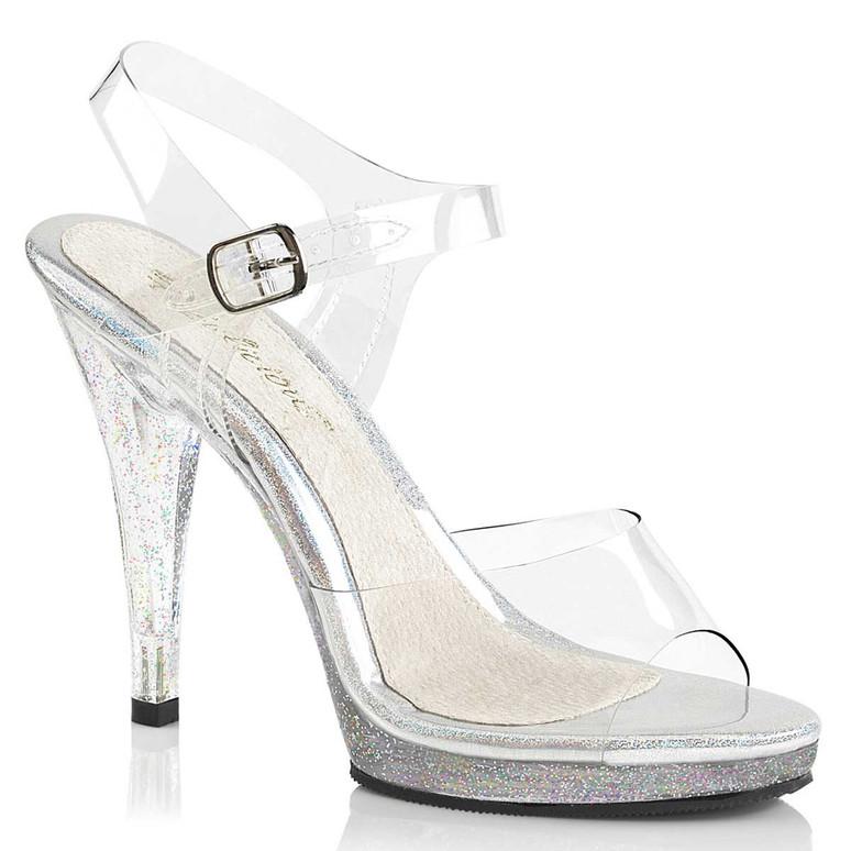 "Flair-408MG, 4.5"" Clear Sandal with Mini Heel"
