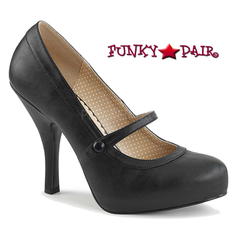 Pink Label | Pinup-01 Women Mary Jane Pump Size 9-16 color black faux leather
