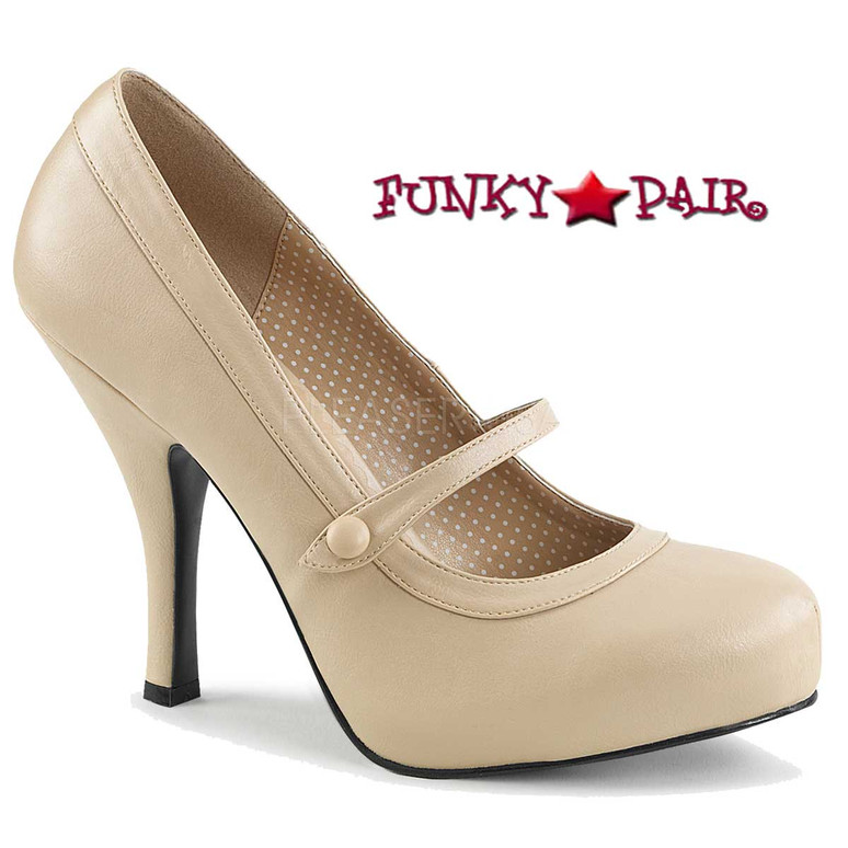 Pink Label | Pinup-01 Women Mary Jane Pump Size 9-16 color Cream