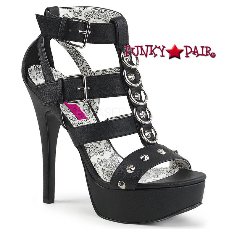 Teeze-42W, Black Wide Width Strappy Platform Sandal | Pink Label