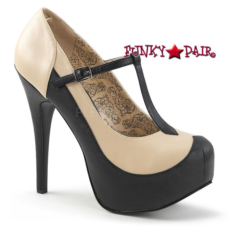 Pink Label | Teeze-45W Wide Width Women Shoes Plus Size 9-16 Color cream/black