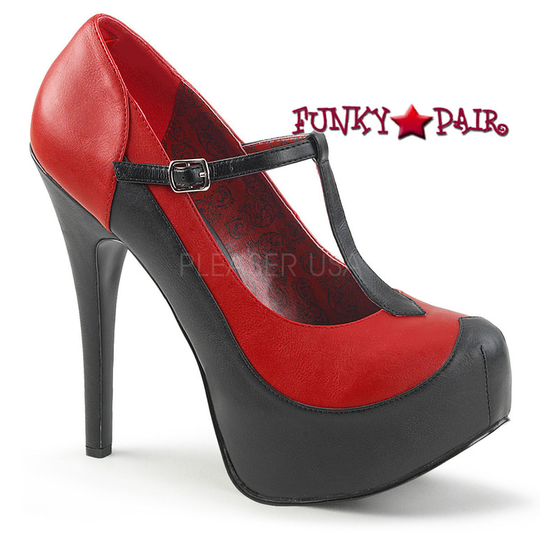 Pink Label | Teeze-45W Wide Width Women Shoes Plus Size 9-16 color red/black