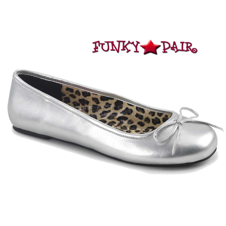 Pink Label | Anna-01, Adult Ballet Fat with Bow Size 9-16 color Silver