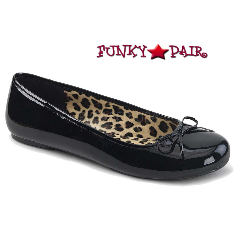 Pink Label | Anna-01, Adult Ballet Fat with Bow Size 9-16 Color Black Patent