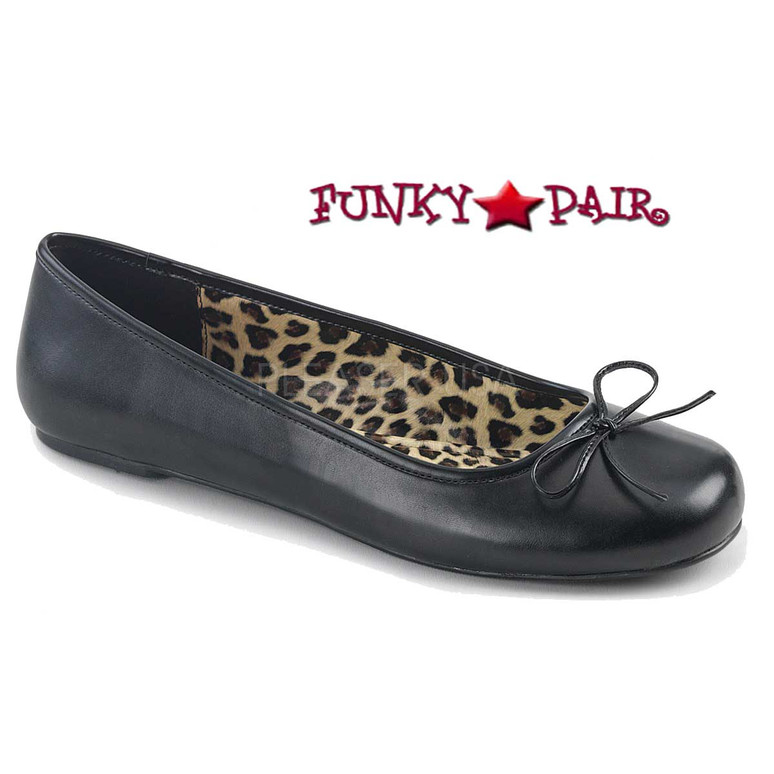 Pink Label | Anna-01, Adult Ballet Fat with Bow Size 9-16 color Black Faux Leather