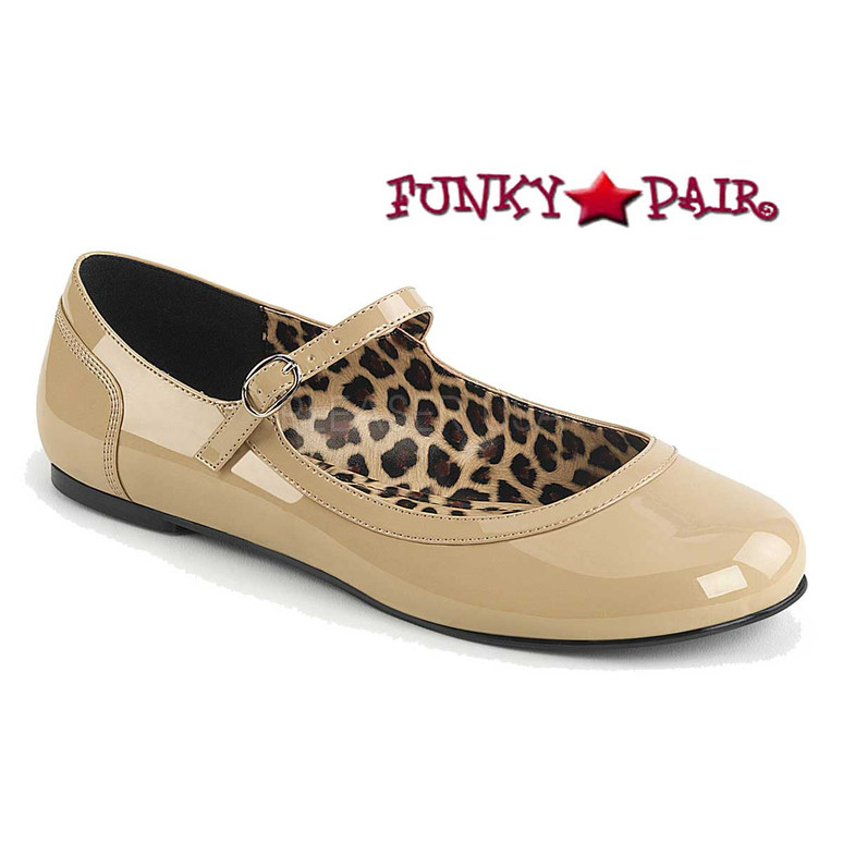 Pink Label | Anna-02, Adult MaryJane Ballet Flat Size 9-16 Color Cream Patent