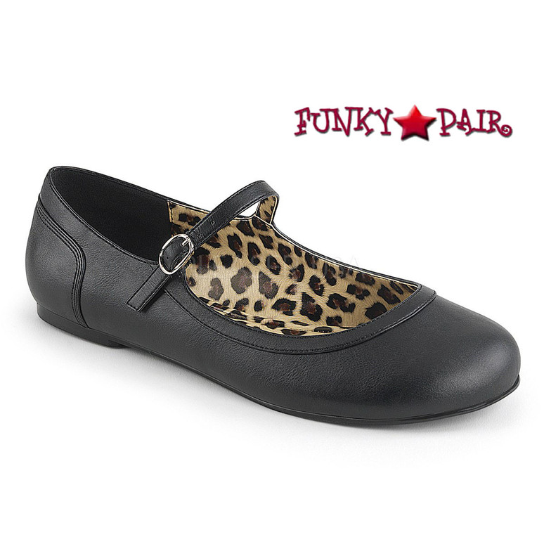 Pink Label | Anna-02, Adult MaryJane Ballet Flat Size 9-16 Color Black Faux Leather