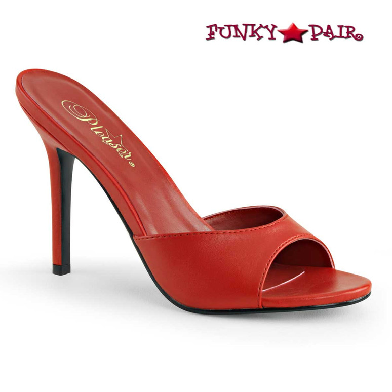 Pleaser Classique-01, 4 Inch Red Stiletto Heel Mule