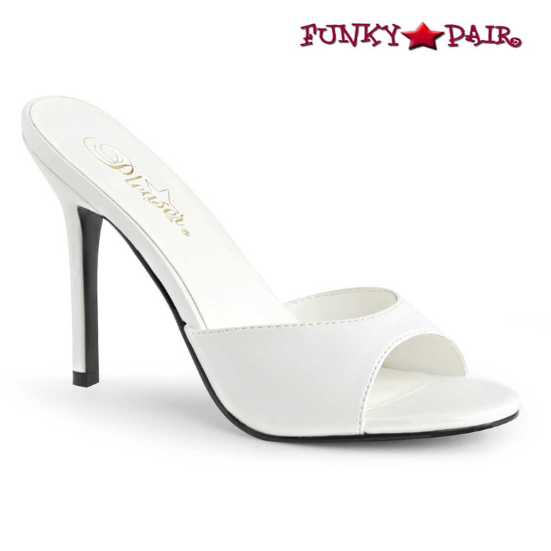 Pleaser Classique-01, 4 Inch White Stiletto Heel Mule