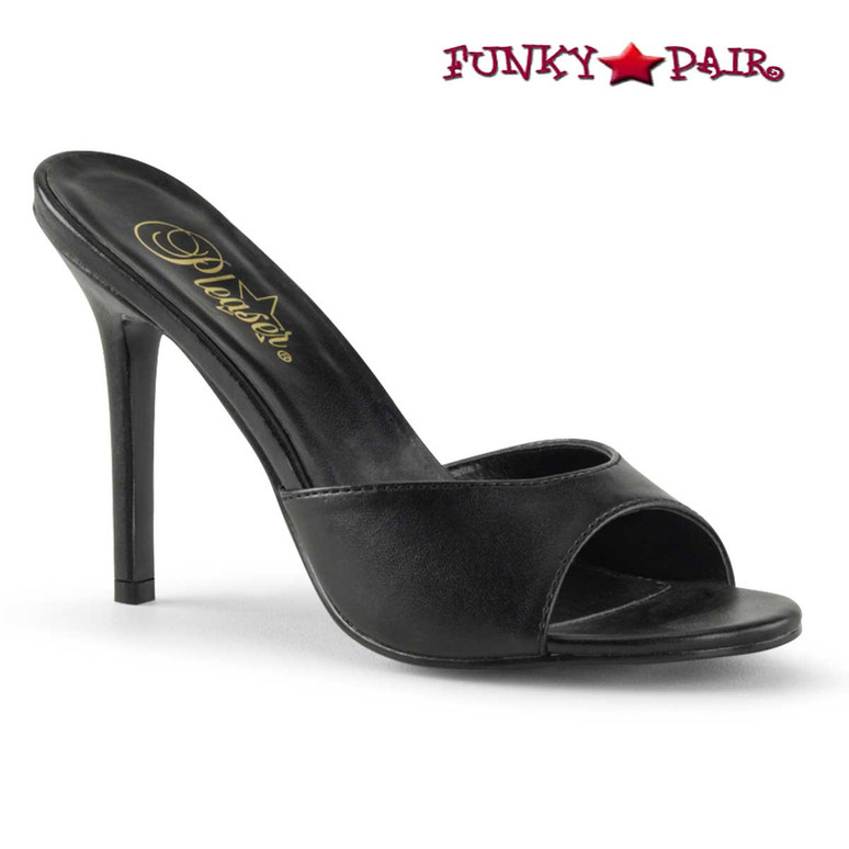 Pleaser Classique-01, 4 Inch Stiletto Heel Mule color black faux leather