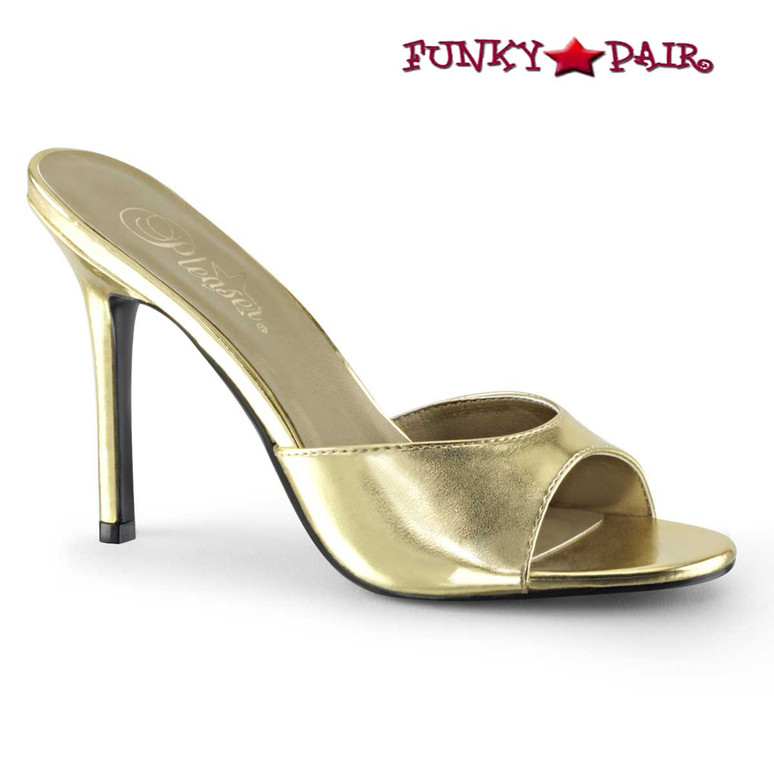 Classique-01, Gold 4 Inch Stiletto Heel Mule by Pleaser
