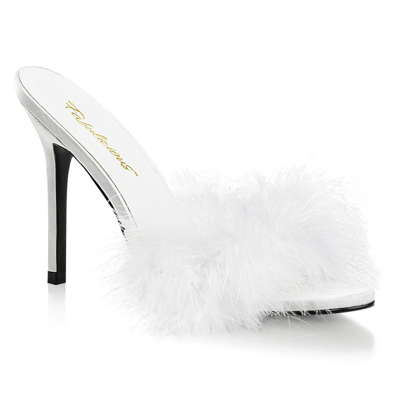 White Marabou Slipper Classique-01F, 4 Inch Heel