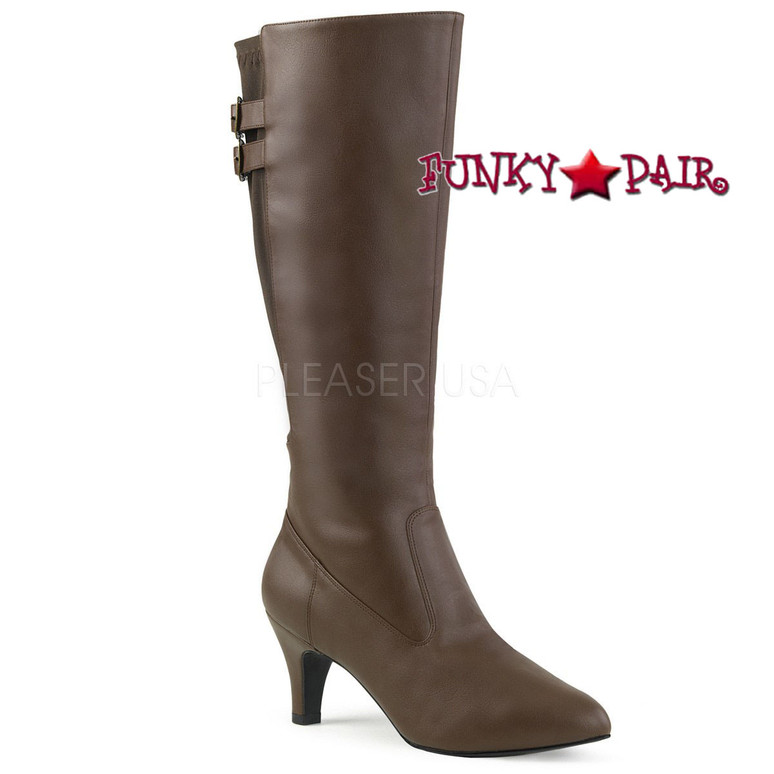 Divine-2018, Brown 3 Inch Heel Knee High Boots Size 9-16 Pink Label |