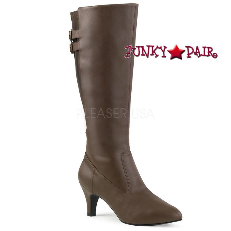 Divine-2018, Brown 3 Inch Heel Knee High Boots Size 9-16 Pink Label |
