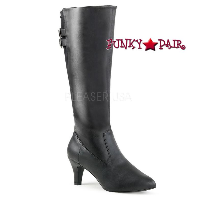 Divine-2018, Black 3 Inch Heel Knee High Boots Size 9-16 Pink Label |