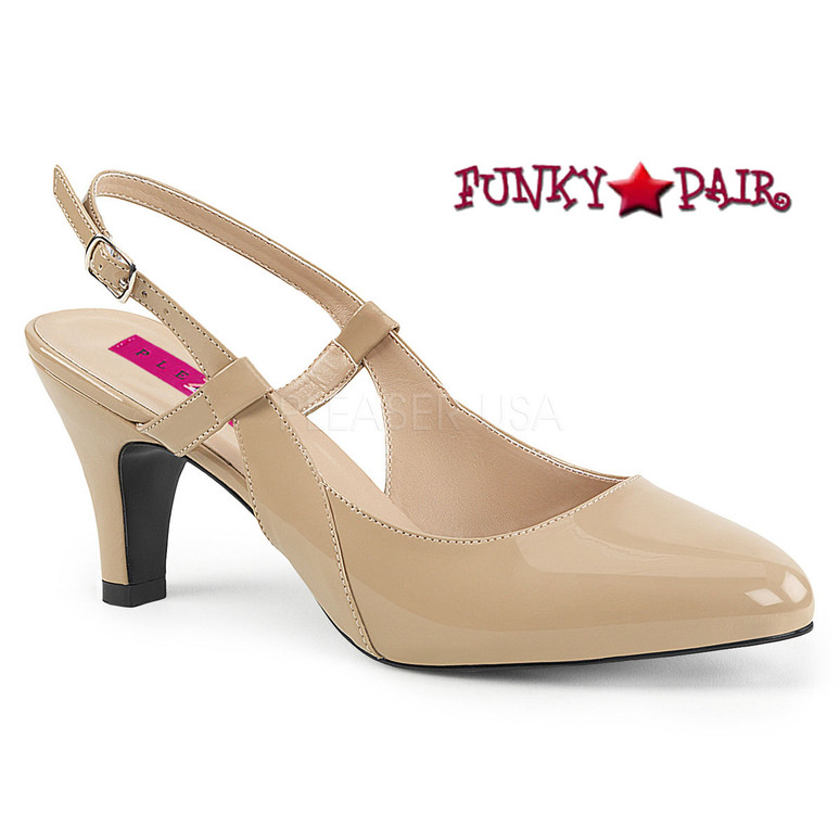 Divine-418, Slingback Pump Plus Size 9-16 color Cream
