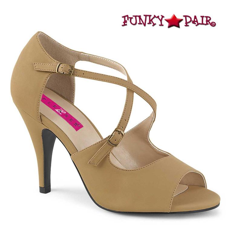 Pink Label   Dream-412 Transgender Shoes Size 9-17  Taupe Nubuck