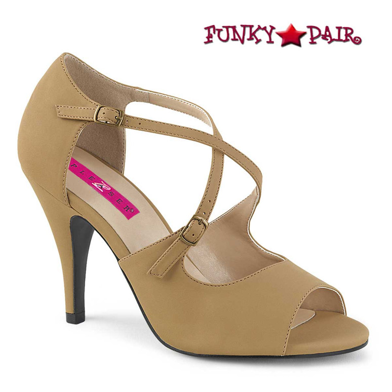 Pink Label | Dream-412 Transgender Shoes Size 9-17  Taupe Nubuck
